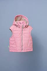 Детская демисезонная жилетка для девочек от 1,5 до 5 лет (жилет, р. 86-110) ТМ Модный карапуз Розовый