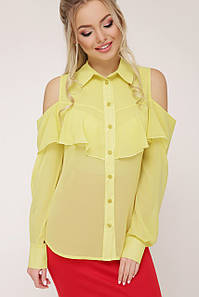 Нарядная рубашка блузка шифоновая с воланом желтая