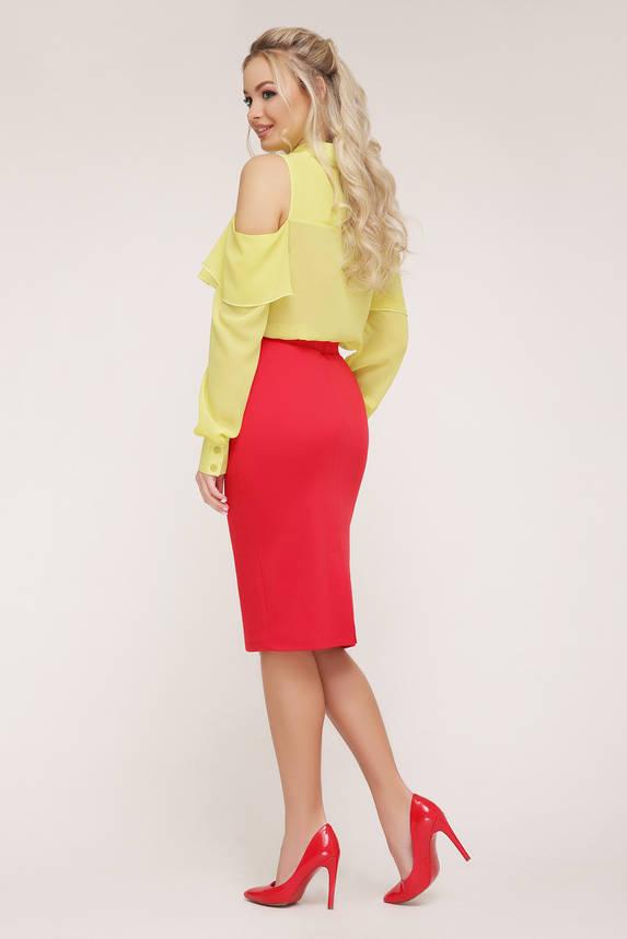 Нарядная рубашка блузка шифоновая с воланом желтая, фото 2