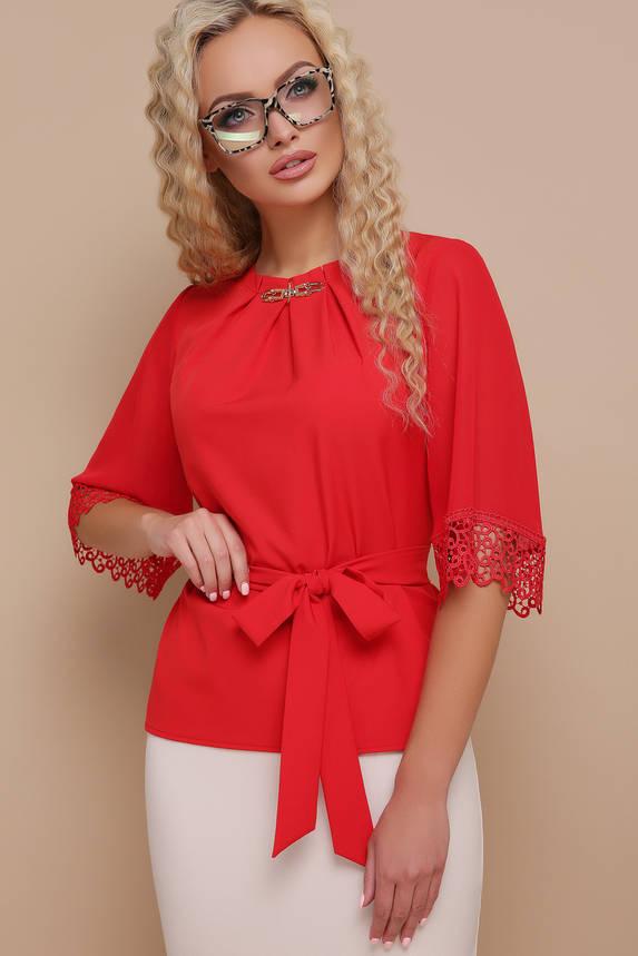Блуза шифоновая с пояском и кружевом, фото 2