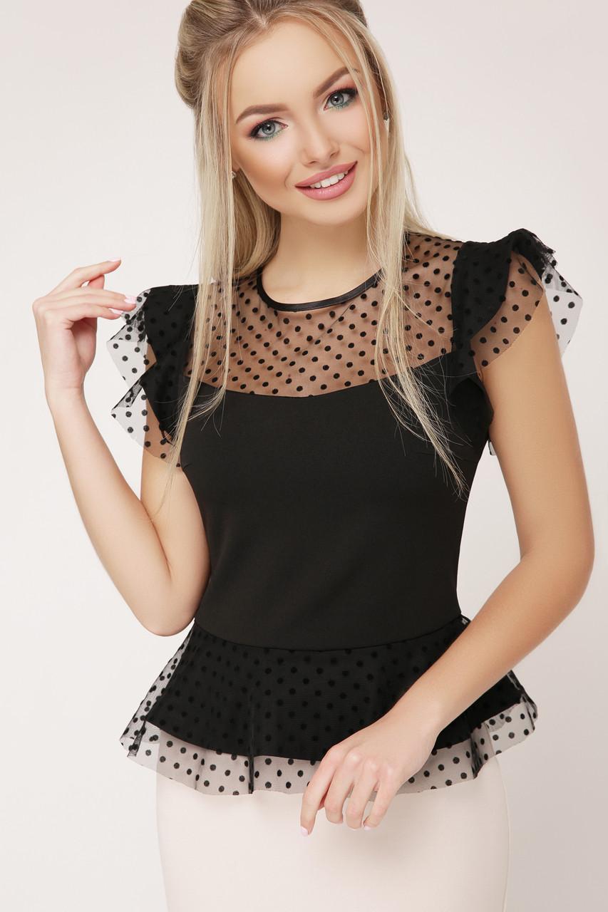 Красивая блуза с баской и сеткой в горошек черная