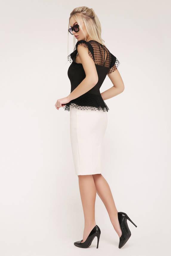 Красивая блуза с баской и сеткой в горошек черная, фото 2