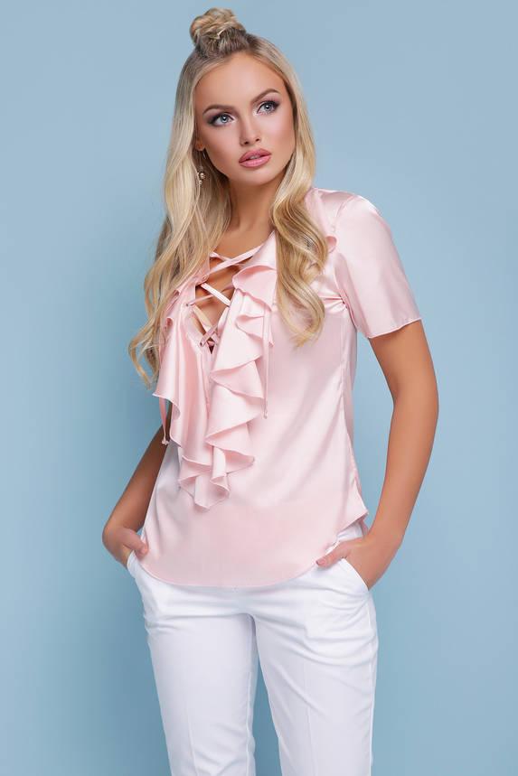 Блуза шелковая с воланом и декольте, фото 2