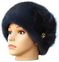 """Норковая  шапка модель """"конфетка цветок """" цвет  темно серая"""
