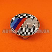 Колпачки заглушки на литые диски BMW М (68.5/65/10) фон черно-белая клетка
