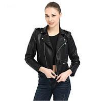 Жіноча куртка-косуха з екошкіри чорна