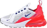 "Женские кроссовки Nike Air Max 270 ""White/Ultramarine-Solar Red"" (Найк Аир Макс) белые с красным"