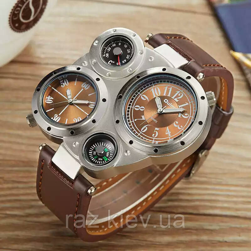 Мужские наручные часы OULM Нескольких часовых поясов часы, термометр, компас  (коричневый циферблат) 92b669920d7