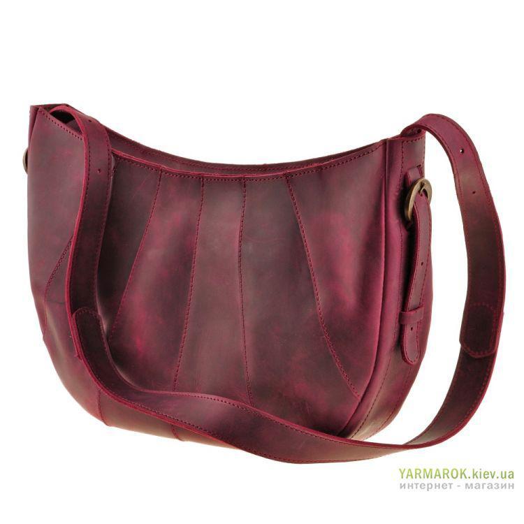 a6e76e042407 Женская сумка из натуральной кожи BlankNote Croissant bn-bag-12 бордового  цвета - Интернет