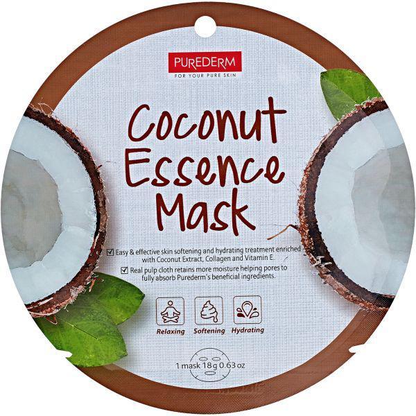 Тканевая маска для лица с коллагеном и экстрактом кокоса PUREDERM Collagen Circle Mask Coconut Essence 18 g