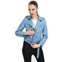 Жіноча куртка-косуха з екошкіри блакитна