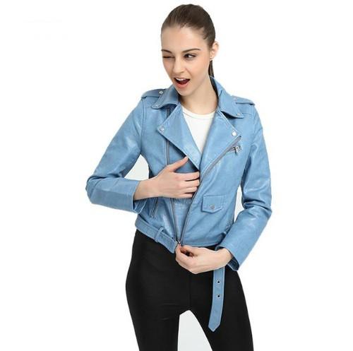Женская куртка косуха из экокожи голубая