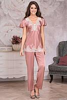 "Комплект с брюками из натурального шелка ""Marilin Deluxe""  3446, р.М чайная роза, Mia Amore, Италия"