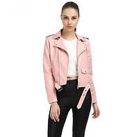 Женская куртка косуха из экокожи розовая, фото 1