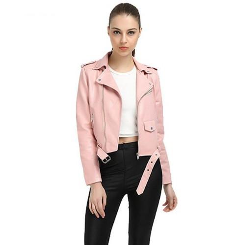 Женская куртка косуха из экокожи розовая