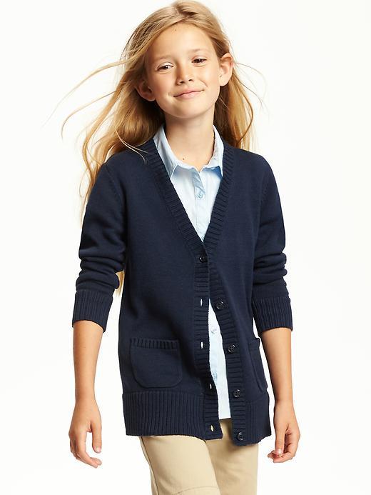 Школьный тёмно-синий кардиган с карманами на девочку 7-8 лет Navy Old Navy (США)