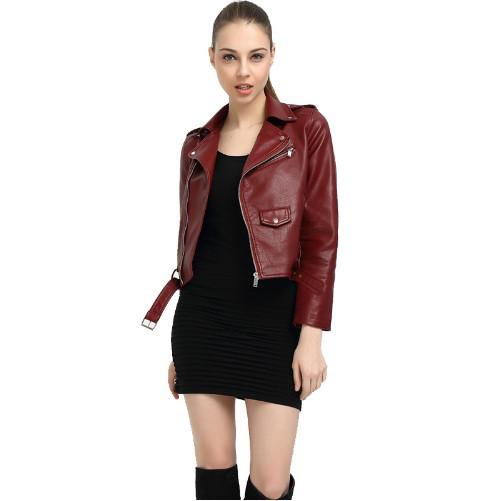 Женская куртка косуха из экокожи бордовая