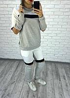Женский спортивный костюм серый с молниями, фото 1