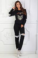 Женский спортивный костюм черный стиль Гуччи, фото 1