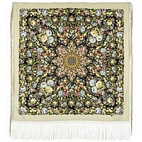 Диво дивное 1798-2, павлопосадский платок (шаль) из уплотненной шерсти с шелковой вязанной бахромой, фото 1