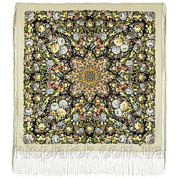Диво дивное 1798-2, павлопосадский платок (шаль) из уплотненной шерсти с шелковой вязанной бахромой