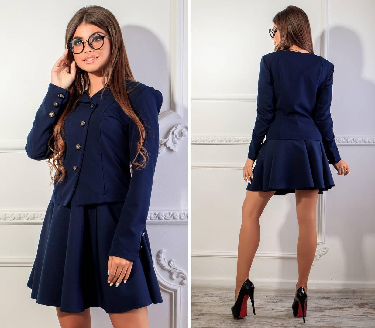 Пиджак женский, новинка 2018, модель 118, цвет - темно синий