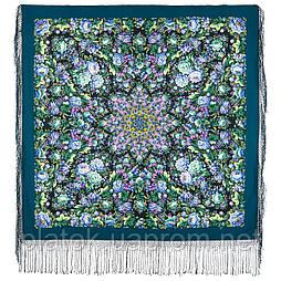Диво дивное 1798-12, павлопосадский платок (шаль) из уплотненной шерсти с шелковой вязанной бахромой