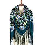 Диво дивное 1798-12, павлопосадский платок (шаль) из уплотненной шерсти с шелковой вязанной бахромой, фото 2