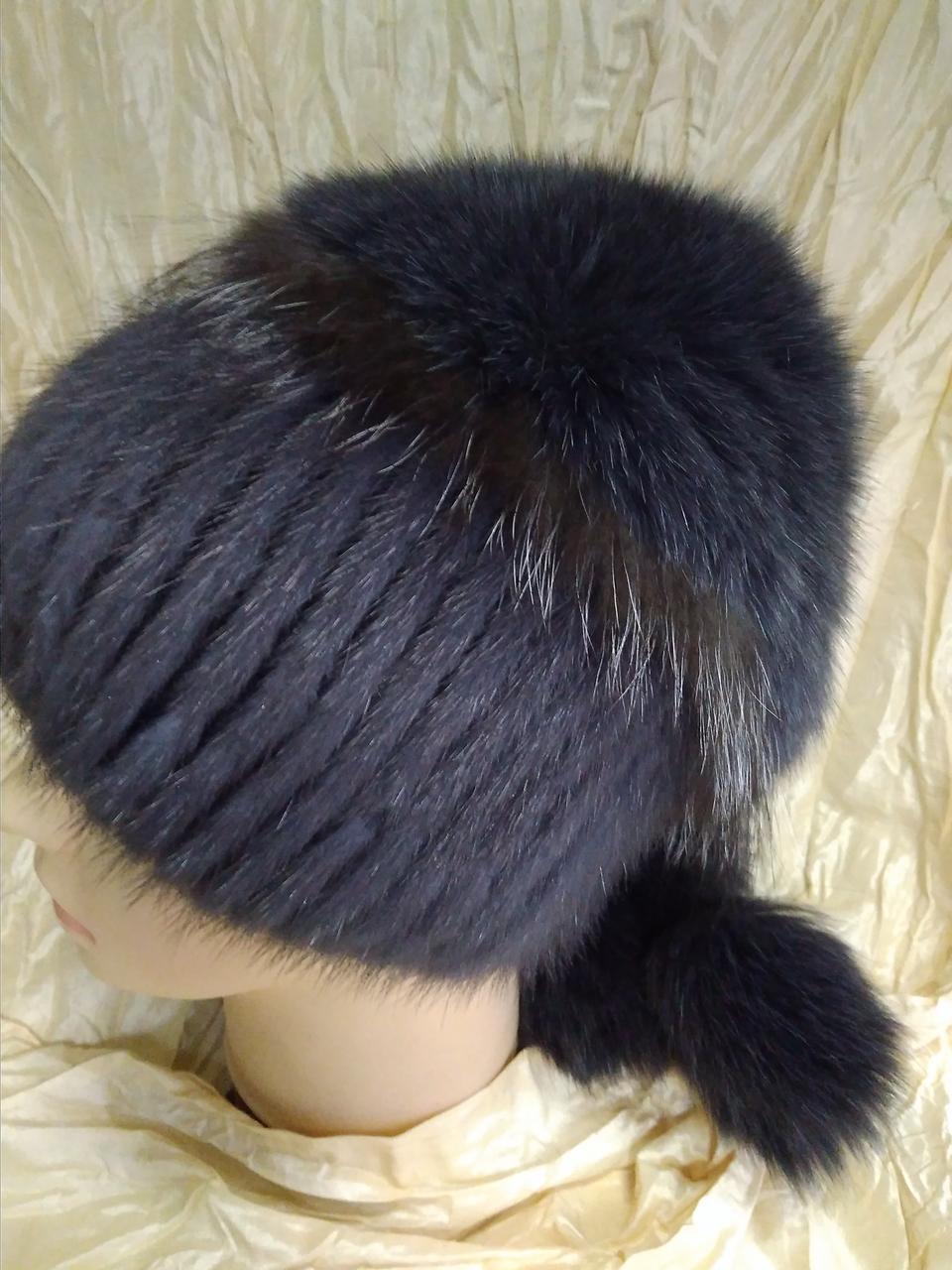 меховая шапка из норки и песца на вязанной основе цвет ирис продажа