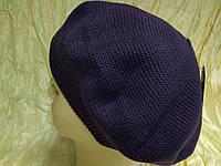Вязаный фиолетовый женский  берет демисезонный