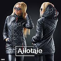 c280c096847f Женская осенняя удлиненная куртка с капюшоном, стежка ромбом.  Сертифицированная компания.
