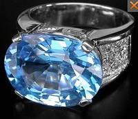 Очень шикарное кольцо. Крупный голубой топаз в фианитах