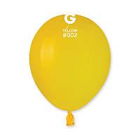 """Латексные воздушные шарики 5"""" пастель 02 желтый Gemar"""