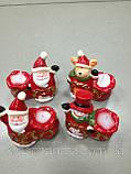 Подсвечник новогодний, 10х9х5,5 см, Керамика,4 дизайна, Новогодние сувениры, фото 2