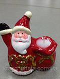 Подсвечник новогодний, 10х9х5,5 см, Керамика,4 дизайна, Новогодние сувениры, фото 3