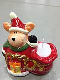Подсвечник новогодний, 10х9х5,5 см, Керамика,4 дизайна, Новогодние сувениры, фото 5