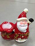 Подсвечник новогодний, 10х9х5,5 см, Керамика,4 дизайна, Новогодние сувениры, фото 6
