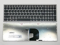 Клавиатура для ноутбука LENOVO IdeaPad Z500, Z500A, Z500G, P500 ( RU Black,  Серебристая рамка ). OEM