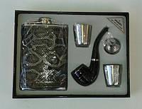 Мужской подарочный набор  фляга 270 мл,2 стопки,лейка, курительная трубка
