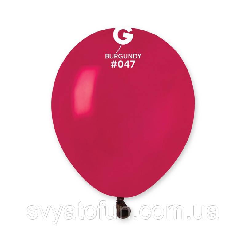 """Латексные воздушные шарики 5"""" пастель 47 бургунди, Gemar"""