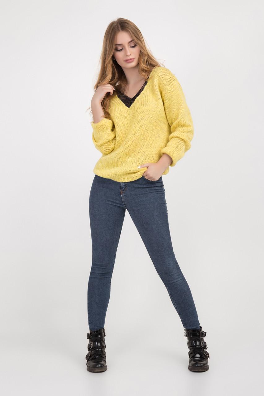3af0fc5922e24b Теплая женская кофта из натурального мохера золотисто-желтого цвета ...