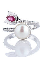 Кольцо серебряное с жемчугом и рубином