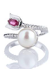 Кільце срібне з перлинами й рубіном R-855 (р. 16.0)