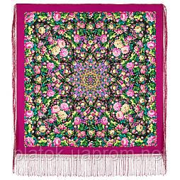 Диво дивное 1798-6, павлопосадский платок (шаль) из уплотненной шерсти с шелковой вязанной бахромой