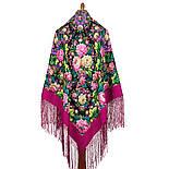 Диво дивное 1798-6, павлопосадский платок (шаль) из уплотненной шерсти с шелковой вязанной бахромой, фото 3