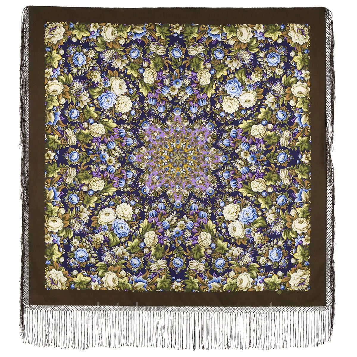 Диво дивное 1798-16, павлопосадский платок (шаль) из уплотненной шерсти с шелковой вязанной бахромой