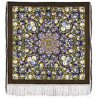 Диво дивное 1798-16, павлопосадский платок (шаль) из уплотненной шерсти с шелковой вязанной бахромой, фото 1