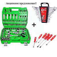 Набор инструментов 108 ед. ET-6108SP + набор ключей 12 ед. HT-1203 + Набор ударных отверток 6 шт. HT-0403