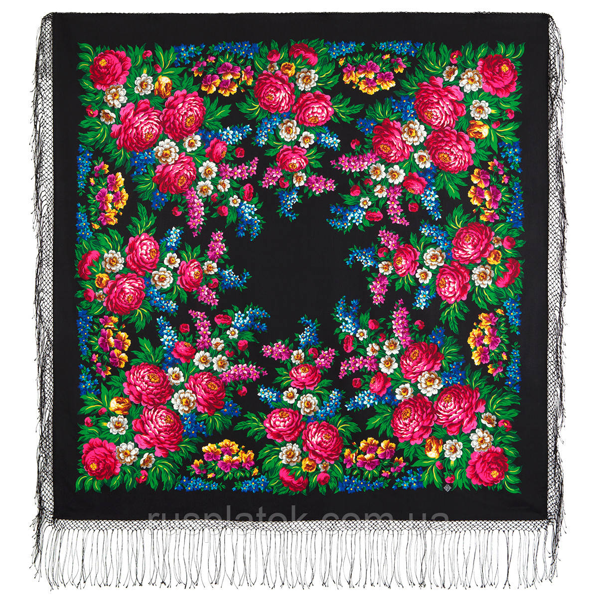 День Победы 235-18, павлопосадский платок (шаль) из уплотненной шерсти с шелковой вязанной бахромой