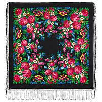 День Победы 235-18, павлопосадский платок (шаль) из уплотненной шерсти с шелковой вязанной бахромой, фото 1